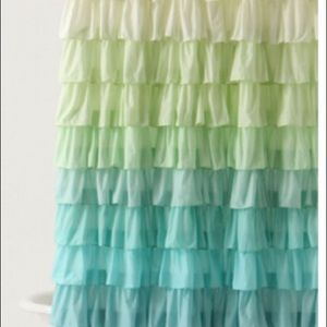 Anthropologie Flamenco Blue & Green Shower Curtain